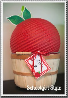 Apple decorations made with green and red paper lanterns. Many sizes available online at http://www.partylights.com/Lanterns/Lanterns-by-Color.