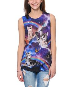 Take your style to a whole new level in the Workshop Space Cats Cosmic Trip Purple muscle t-shirt for women. Made with a lightweight and soft poly blended construction and a boyfriend fit for a super comfy wear, this muscle t-shirt is has an allover galax