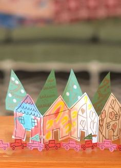 Paper Christmas Village Chains- Fun holiday kids craft
