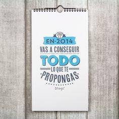 Calendario pared - En 2014 vas a conseguir todo lo que te propongas. Lo encontrarás en http://www.mrwonderfulshop.es/es/ #calendario #2014