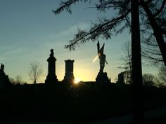 Headstones with back lighting. Greenwood Cemetery, Brooklyn, Celestial, Sunset, Lighting, Outdoor, Beautiful, Outdoors, Lights