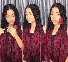 All styles of box braids to sublimate her hair afro On long box braids, everything is allowed! For fans of all kinds of buns, Afro braids in XXL bun bun work as well as the low glamorous bun Zoe Kravitz. Ombre Box Braids, Colored Box Braids, Short Box Braids, Braids With Color, Burgundy Box Braids, Box Braids Hairstyles, African Hairstyles, Black Girl Braids, Braids For Black Hair
