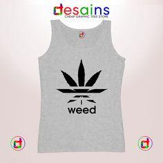 baf86a572cee1 Buy Graphic Tank Top Weed Plant Parody Adidas Logo Size S-3XL