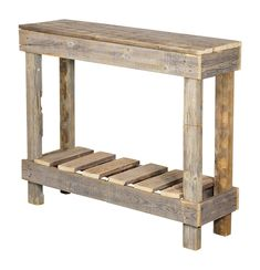 Discover our favorite farmhouse console tables and farmhouse sofa tables. We listed the best modern, vintage, and rustic farmhouse themed console tables. Rustic Outdoor Side Tables, Pallet Side Table, Rustic Console Tables, Rustic Outdoor Furniture, Beach Furniture, Diy Pallet Furniture, Modern Furniture, Palet Table, Outdoor Console Table