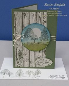 Card inspired by Leonie Newman. Created using Stampin' Up!s Hardwood, Lovely as a Tree and Simply Sketched Stamp Sets. (Pin#1: Nature: Trees. Pin+: Woodgrain).