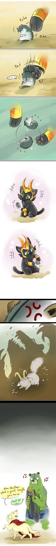 DogThor CatLoki: puny thing by LittleDarkDragon.deviantart.com on @deviantART