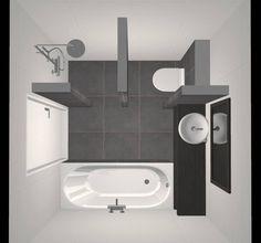Kleine Badkamer met Douche, Bad, Wastafel en Toilet - Ontwerp - Beniers Badkamers - Foto 2