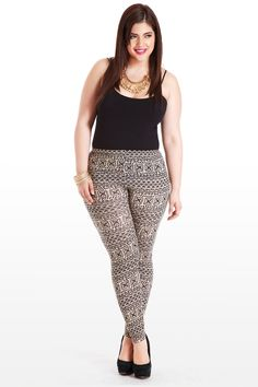 These stretch leggings sport an all-over black-on-taupe Aztec print, a trendy dose of detail to add pizzazz to that simple blouse on Saturday nights. Comfy fit, elastic waist, skinny cut make them the perfect neutral-with-a-twist staple. Begs for heels, a sheer top, and pops of metallic jewelry.