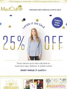 25% off tops, bottoms, & more won't last forever! - Modcloth