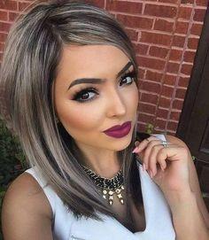 Dark hair platinum gray highlights Bold makeup  #bold lips