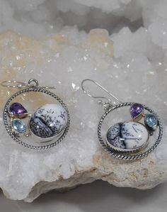 Dendritic Opal Earring Set 2 with Amethyst and Blue Topaz