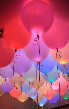 Decorate your next party with light-up LED balloons, which fill the room with a festive glow