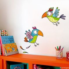 Sticker Parrots, baby and child bedroom decoration – Série-Golo - Kinderzimmer Art Mural, Wall Murals, Wall Art, Drawing For Kids, Art For Kids, Wall Painting Decor, School Murals, Arts And Crafts, Diy Crafts