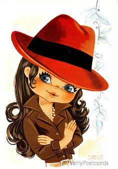 Creus - Sweet Big Eyed Girl, Vintage postcard from the Vintage Greeting Cards, Vintage Postcards, Vintage Images, Vintage 70s, Illustration Mignonne, Cute Illustration, Cartoon Mignon, Art Mignon, Eye Art