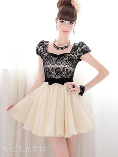 Romantic Square Neck Bowknot Puff Short Sleeve Mini Dress