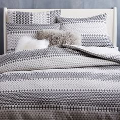 Organic Block Stripe Jacquard Duvet Cover, King, Black