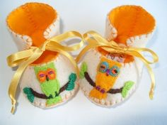 Beautiful Cream and Gold Owl Baby Booties by funkyshapes, $29.95