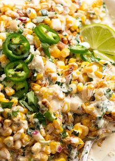 Close up of the best Mexican Corn Salad Mexican Corn Salad, Mexican Dishes, Mexican Food Recipes, Dinner Recipes, Lunch Recipes, Dinner Ideas, Vegetable Side Dishes, Vegetable Recipes, Mexican Street Food