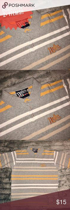 Nostro Men's Gray/White/Yellow Striped Polo Shirt Preloved Striped Polo shirt by Nostro! 100% cotton, size Large. Minor flaw is small hole on the front bottom left corner; not noticeable but wanted to point this out. No other flaws, in good condition. Priced fair due to the flaw but still a nice casual shirt with plenty wear left! Nostro Shirts Polos