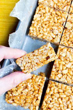 Toasted Coconut Almond Rice Crispy Treats (V+GF): an easy, 5 ingredient recipe for sweetly satisfying, protein-packed toasted coconut rice crispy treats. #Vegan #GlutenFree #DairyFree | BeamingBaker.com