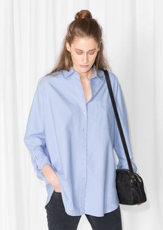 & Other Stories image 2 of Oversized Shirt in Light Blue Polo Shirt Girl, Oversized Shirt, What I Wore, Fashion Details, Shirts For Girls, Shirt Blouses, Shirt Style, Style Me, Ready To Wear