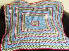 Finished Cath Kidston inspired crochet granny square blanket