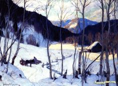 The Clearing In The Woods Artwork By Clarence Gagnon Oil Painting & Art Prints On Canvas For Sale Quebec, Clarence Gagnon, Hunters In The Snow, Wood Artwork, Of Montreal, Winter Art, Winter Trees, Art Prints For Sale, Impressionism Art
