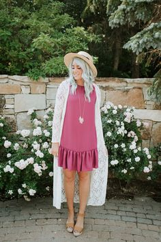 THE LAST OF SUMMER MOMMY | The Red Closet Shop | Instagram: @ jalynnschroeder | Summer fashion, Fall fashion, lace cardigan, wedges, tan wedges, shift dress, ruffle shift dress, mommy and me, toddler fashion, toddler girl fashion, blue hair, green hair.