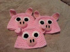 Three Little Pigs Beanie Hat Crochet Pattern