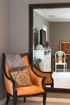 Living room greige greige walls (Farrow Ball Mouse's Back) plus orange accent plus light floors and white baseboard Farrow And Ball Paint, Farrow Ball, White Baseboards, Modern Country Style, White Walls, House Tours, Home And Family, Sweet Home, New Homes