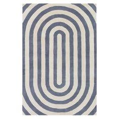 Racetrack Ovals Modern Geometry Plush Wool Rug