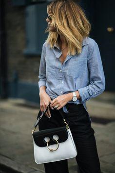 blue pinstripe shirt, larsson & jennings watch, JW Anderson Pierce bag, black trousers, balayage long bob lob hair