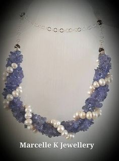 Blueberries and Cream a Tanzanite and Pearl Necklace by MarcelleKDesigns on Etsy
