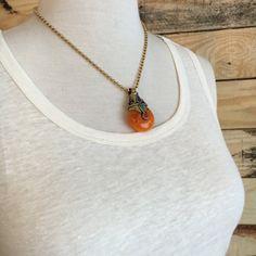 Tibetan Amber Pendant with Brass Bead Chain by Gems4JewelsLLC
