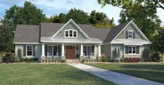 This modern farmhouse gives you Southern details and lots of style. Check out the open floor plan. Use code GETSOCIAL for 10% off your house plan (some exclusions apply). Questions? Call 1-800-447-0027 today. #architect #architecture #buildingdesign #homedesign #residence #homesweethome #dreamhome #newhome #newhouse #foreverhome #interiors #archdaily #modern #farmhouse #house #lifestyle #design #buildersareessential Modern Farmhouse Plans, Farmhouse Design, Farmhouse Style, Bungalow House Plans, Craftsman House Plans, Craftsman Ranch, Ranch Style Homes, Best House Plans, Bedroom Layouts