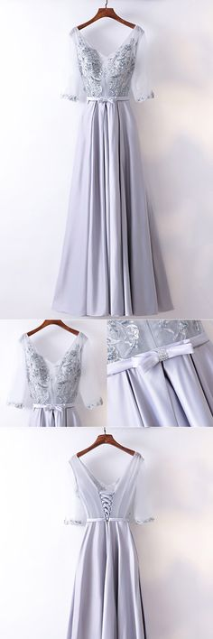 Only $109, Gorgeous Silver Satin Long Party Dress V-neck With Sleeves #MYX18228 at #SheProm. SheProm is an online store with thousands of dresses, range from Formal,Bridesmaid,Silver,Long Dresses,Customizable Dresses and so on. Not only selling formal dresses, more and more trendy dress styles will be updated daily to our store. With low price and high quality guaranteed, you will definitely like shopping from us. Shop now to get $10 off!