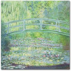 Trademark Fine Art ''Waterlily Pond The Bridge Ii'' Canvas Wall Art by... ($60) ❤ liked on Polyvore featuring home, home decor, wall art, backgrounds, art, pictures, bilder, multicolor, vertical wall art and vertical canvas wall art