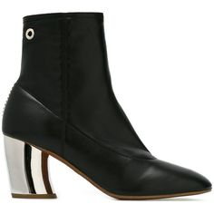 Proenza Schouler Metallic Heel Ankle Boots (26,975 INR) ❤ liked on Polyvore featuring shoes, boots, ankle booties, black leather booties, short black boots, black leather ankle booties, leather ankle boots and chunky ankle boots