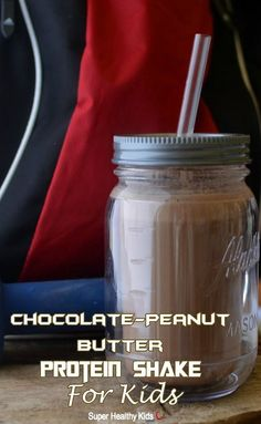 Chocolate Peanut Butter Protein Shake Recipe- For Kids! Chocolate Peanut Butter Protein Shake Recipe- For Kids! This shake has 22 grams of. Vegetarian Meals For Kids, Kids Cooking Recipes, Healthy Meals For Kids, Kids Meals, Kid Cooking, Kid Recipes, Whole30 Recipes, Vegetarian Recipes, Healthy Recipes