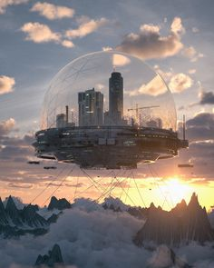 Art featuring all things futuristic. Whether it's retro or advanced technology, utopian cityscapes or ruined warscapes, if there's a Sci-Fi. Cyberpunk City, Futuristic City, Futuristic Architecture, Fantasy City, Fantasy Places, Fantasy World, Fantasy Art Landscapes, Fantasy Landscape, Dystopian Art