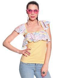 Remanika Multicolor Synthetic Printed Square Neck Tops