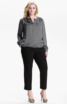Vince Camuto Satin Henley Blouse via Nordstrom - $89
