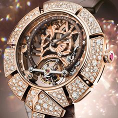 Bulgari Serpenti Incantati Tourbillon Lumière watch with skeleton dial and diamond snake surrounding. Fashion forward. Modern design. High jewellery timepiece. Rose gold and brown alligator strap. http://www.thejewelleryeditor.com/watches/top-5/top-5-tourbillon-watches-for-women/ #luxury