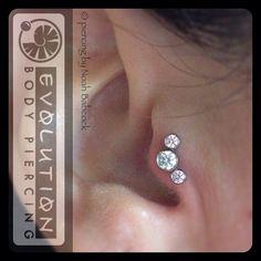 Healed #tragus piercing with #titanium all white stones please