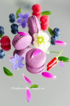 Biondinaincucina: Macarons with raspberries, blueberries and chili / Macarons with raspberry, blueberry and chilli filling