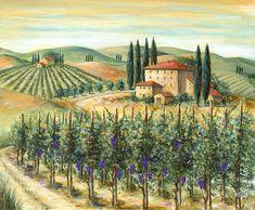 Tuscan Vineyard And Villa by Marilyn Dunlap - Tuscan Vineyard And ...