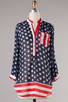 Sheer Blouse - American Flag | Bellum -- WHY IS THIS SOLD OUT ON THE WEBSITE? :(