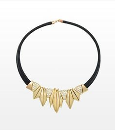 #DYNHOLIDAY Accessorize your look with this golden and faux leather necklace!