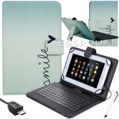 "Micro USB Keyboard Leather Stand Case Cover For 7""-10.1"" Tablets PC Heart Smile"
