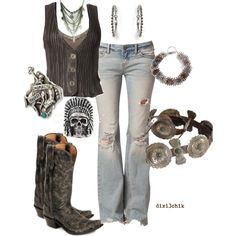 Perfect mix of punk, country, and boho so love this outfit Country Girl Outfits, Country Girl Style, Country Fashion, Cowgirl Outfits, Country Girls, Cowgirl Fashion, Cowgirl Jeans, Cowboy Boots, Cowgirl Mode